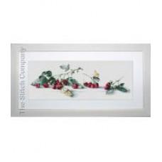 Borduurpakket Raspberries with Butterfly
