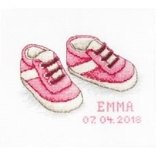 Borduurpakket babyschoentjes roze