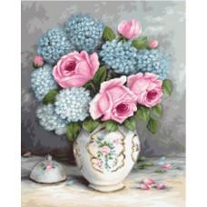 Borduurpakket rozen en hortensia's