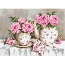 Borduurpakket thee en rozen
