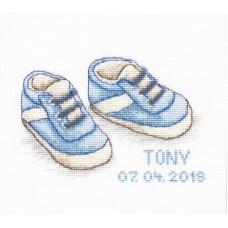 Borduurpakket babyschoentjes blauw