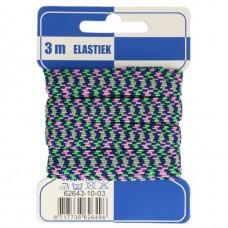Color Elastiek 10mm Blauw-Groen-Roze
