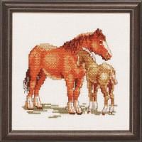 Voordelig borduurpakket - Paard met veulen