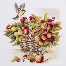 Borduurpakket Bouquet of apples and great tit