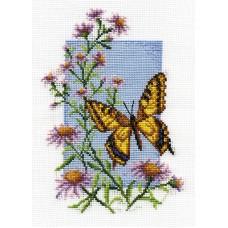 Borduurpakket Butterfly with flower II