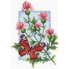 Borduurpakket Butterfly with flower III