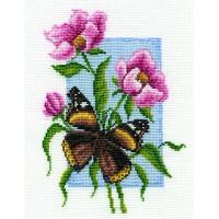 Borduurpakket Butterfly with flower