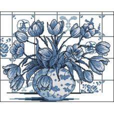 Borduurpakket Borduurpakket Indigo Tulpen