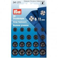 Drukknopen vernaaibaar zwart 6-11 mm