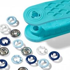 Drukknopen Jersey Tandring 8mm Blauw-Wit