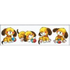 Borduurpakket Four Puppies