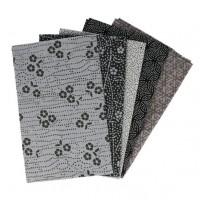 5 lapjes stof Zwart-Grijs