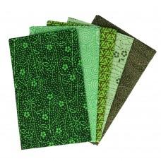 5 lapjes stof voor mondkapjes Groen-Tinten