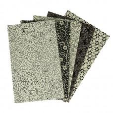 5 lapjes stof voor mondkapjes Beige-Zwart