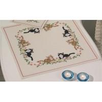 Borduurpakket Tafelkleedje katten en bloemen
